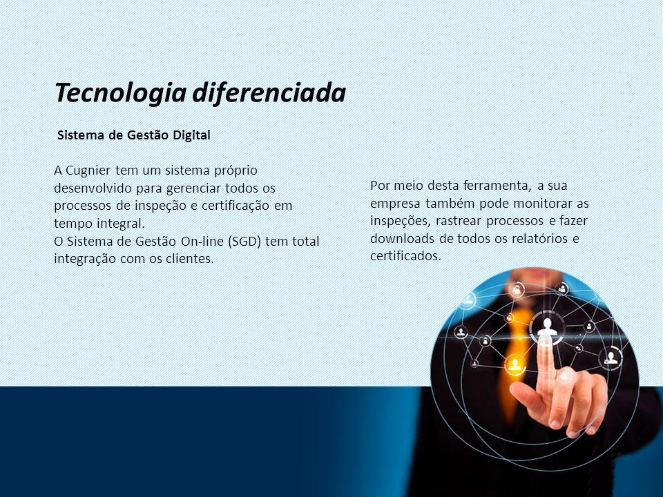 Sistema de Gestão Digital A Cugnier tem um sistema próprio desenvolvido para gerenciar todos os processos de inspeção e certificação em tempo integral