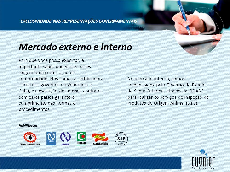 EXCLUSIVIDADE NAS REPRESENTAÇÕES GOVERNAMENTAIS Para que você possa exportar, é importante saber que vários países exigem uma certificação de conformi
