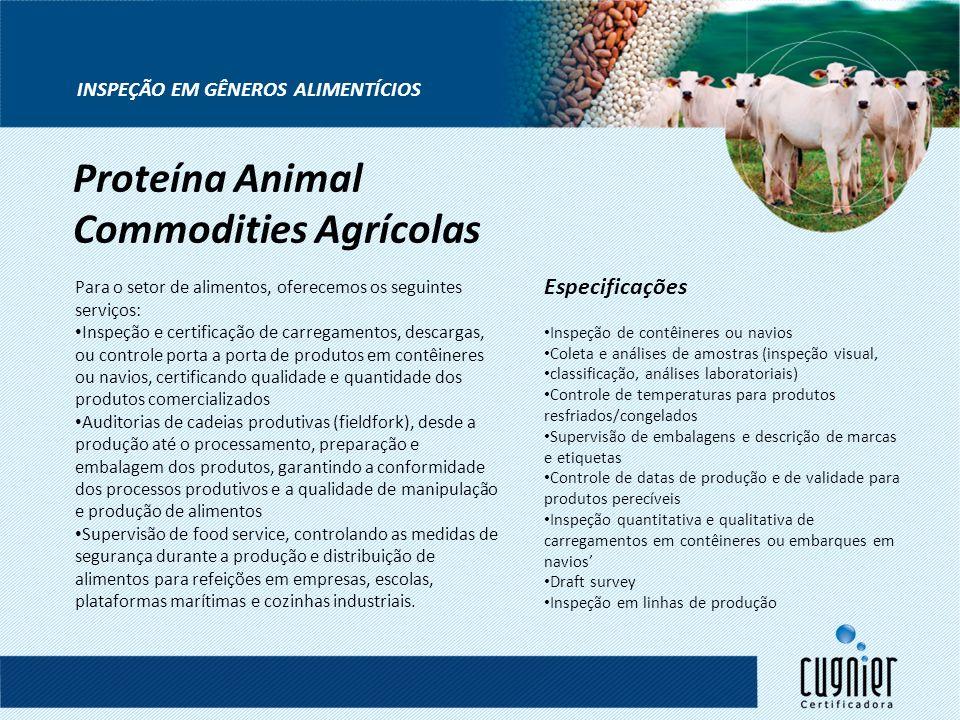 INSPEÇÃO EM GÊNEROS ALIMENTÍCIOS Para o setor de alimentos, oferecemos os seguintes serviços: Inspeção e certificação de carregamentos, descargas, ou
