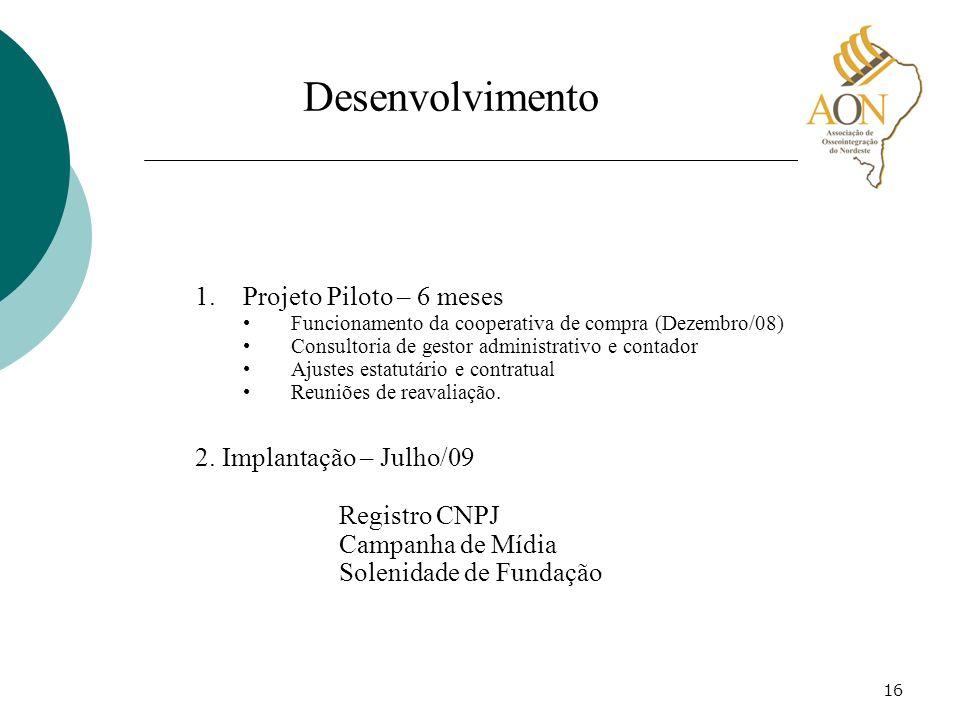 16 Desenvolvimento 1.Projeto Piloto – 6 meses Funcionamento da cooperativa de compra (Dezembro/08) Consultoria de gestor administrativo e contador Aju