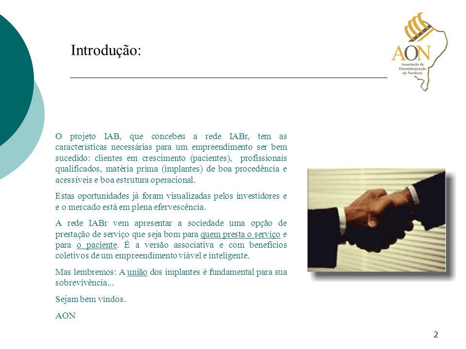 2 Introdução: O projeto IAB, que concebeu a rede IABr, tem as características necessárias para um empreendimento ser bem sucedido: clientes em crescim
