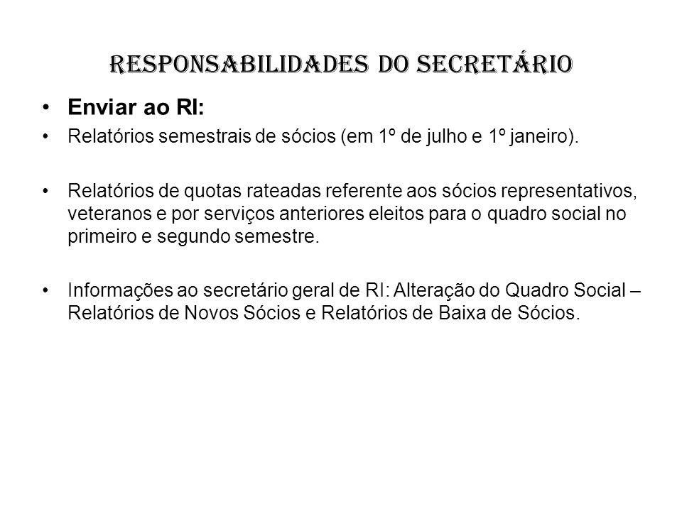 responsabilidades do Secretário Enviar ao RI: Relatórios semestrais de sócios (em 1º de julho e 1º janeiro). Relatórios de quotas rateadas referente a