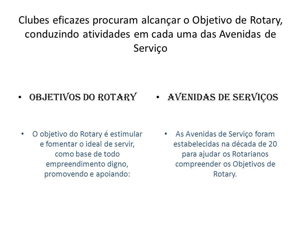Clubes eficazes procuram alcançar o Objetivo de Rotary, conduzindo atividades em cada uma das Avenidas de Serviço Objetivos do Rotary O objetivo do Ro