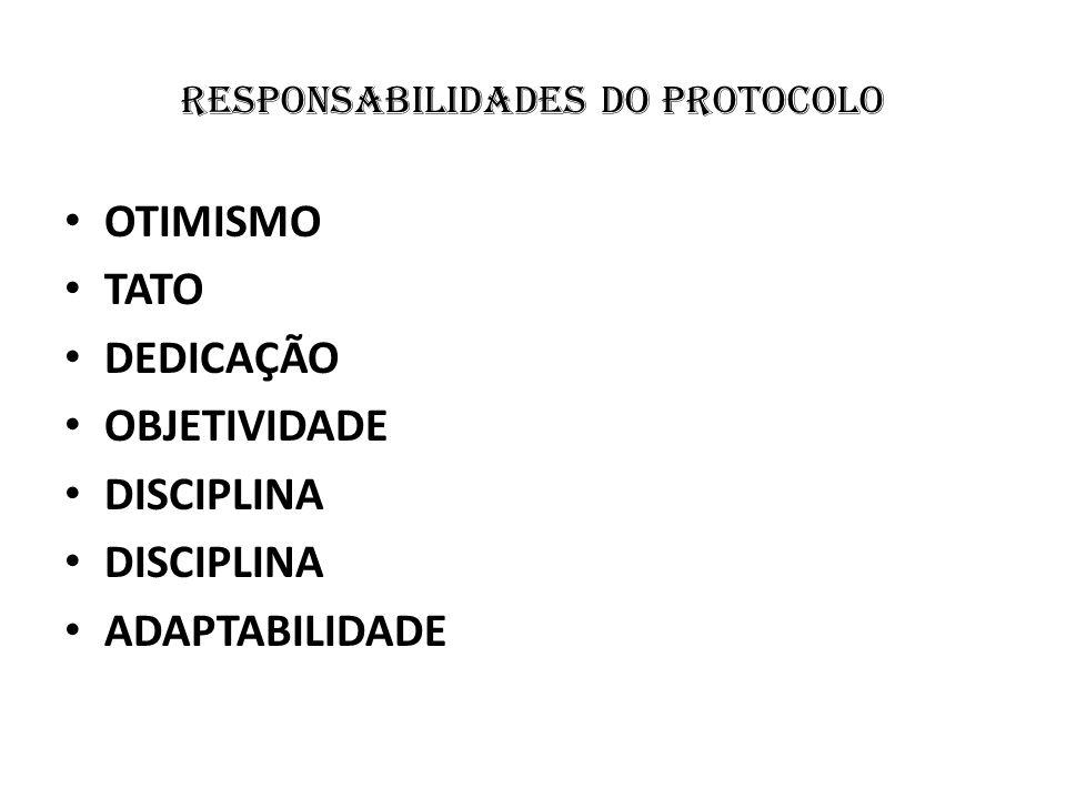 responsabilidades do protocolo OTIMISMO TATO DEDICAÇÃO OBJETIVIDADE DISCIPLINA ADAPTABILIDADE