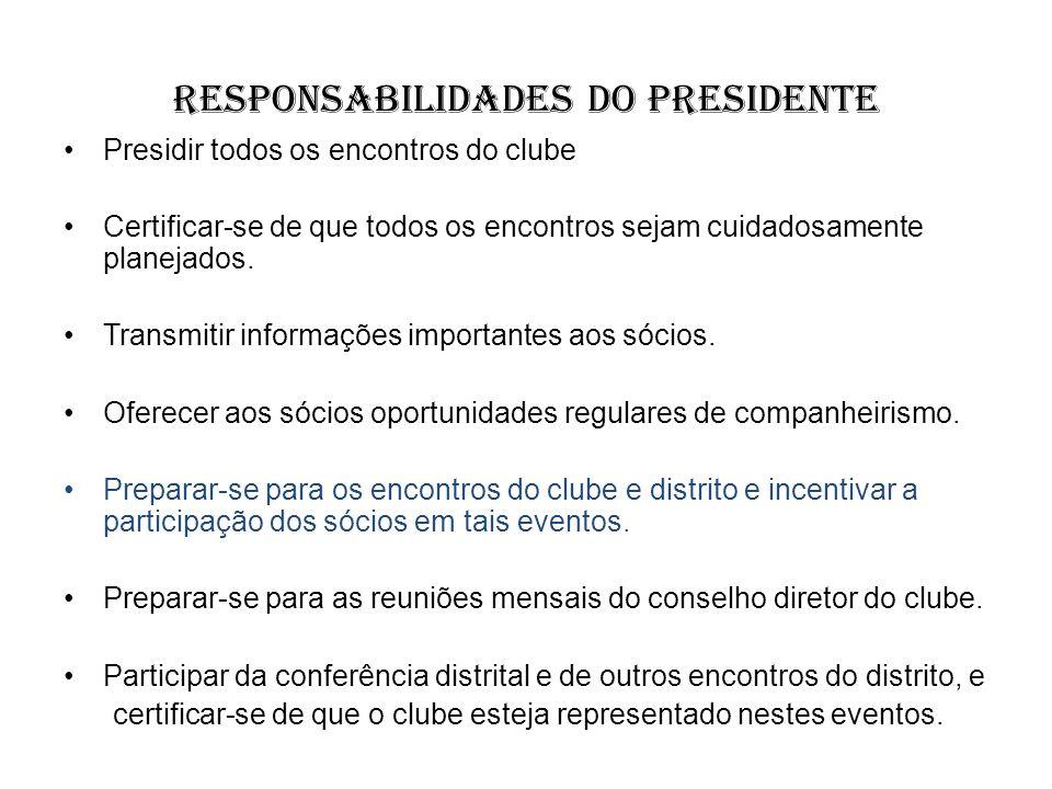 Responsabilidades do Presidente Presidir todos os encontros do clube Certificar-se de que todos os encontros sejam cuidadosamente planejados. Transmit