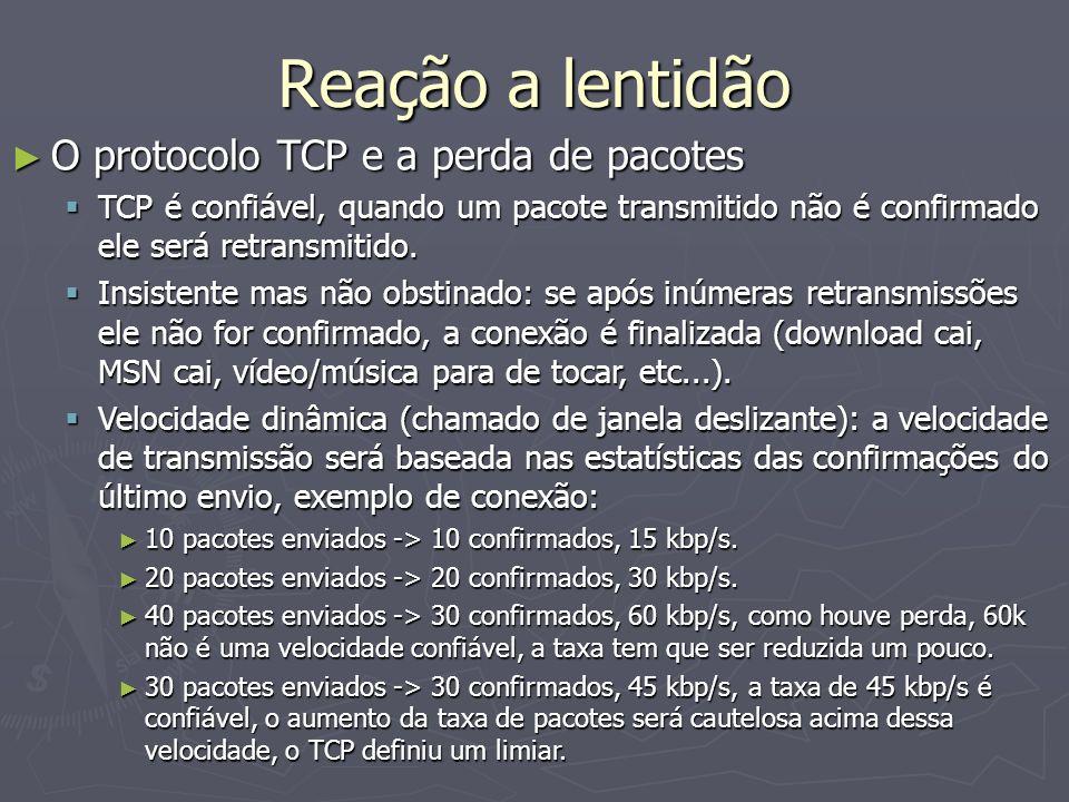Reação a lentidão O protocolo TCP e a perda de pacotes O protocolo TCP e a perda de pacotes TCP é confiável, quando um pacote transmitido não é confir