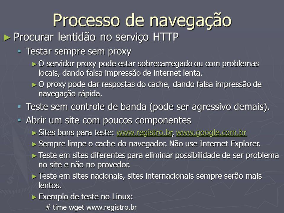 Processo de navegação Procurar lentidão no serviço HTTP Procurar lentidão no serviço HTTP Testar sempre sem proxy Testar sempre sem proxy O servidor p