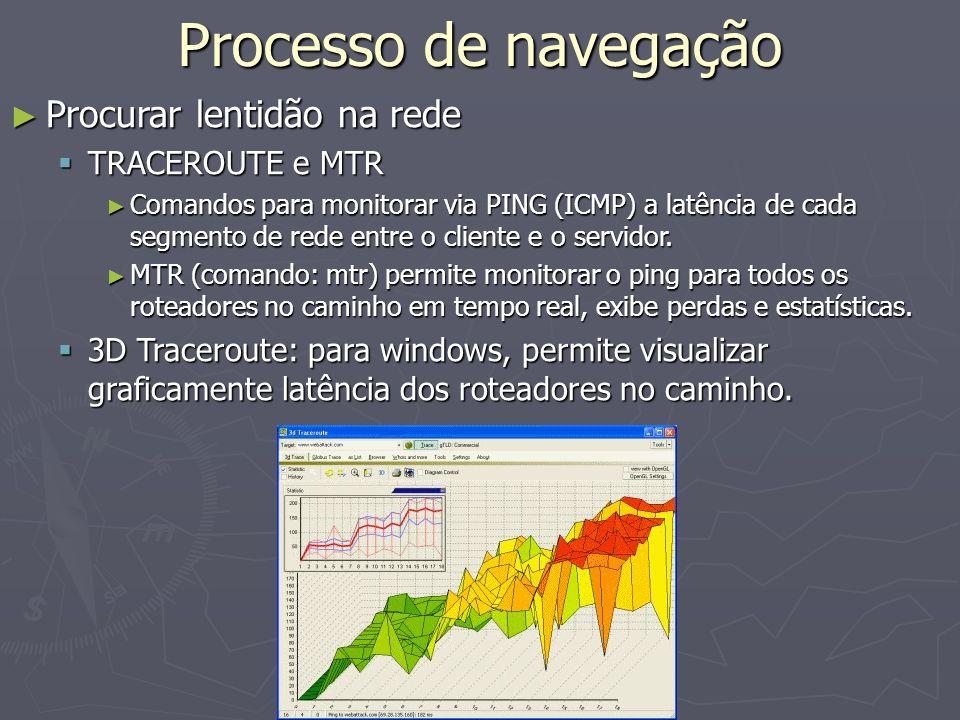 Processo de navegação Procurar lentidão na rede Procurar lentidão na rede TRACEROUTE e MTR TRACEROUTE e MTR Comandos para monitorar via PING (ICMP) a