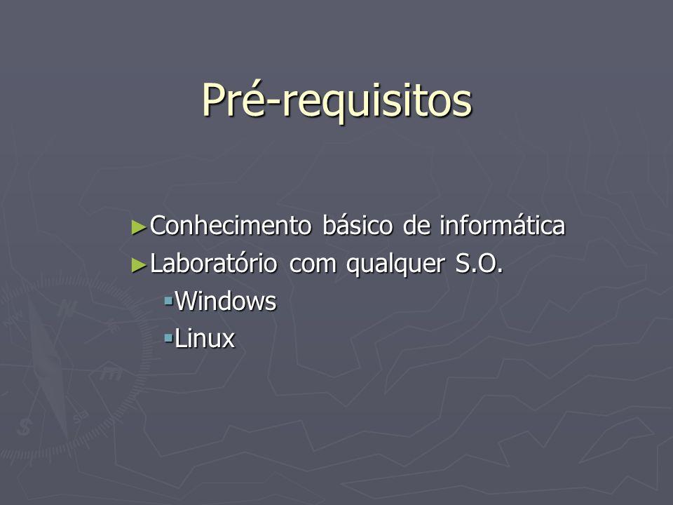 Pré-requisitos Conhecimento básico de informática Conhecimento básico de informática Laboratório com qualquer S.O. Laboratório com qualquer S.O. Windo