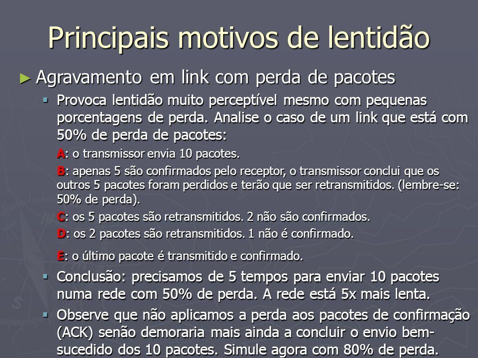 Principais motivos de lentidão Agravamento em link com perda de pacotes Agravamento em link com perda de pacotes Provoca lentidão muito perceptível me