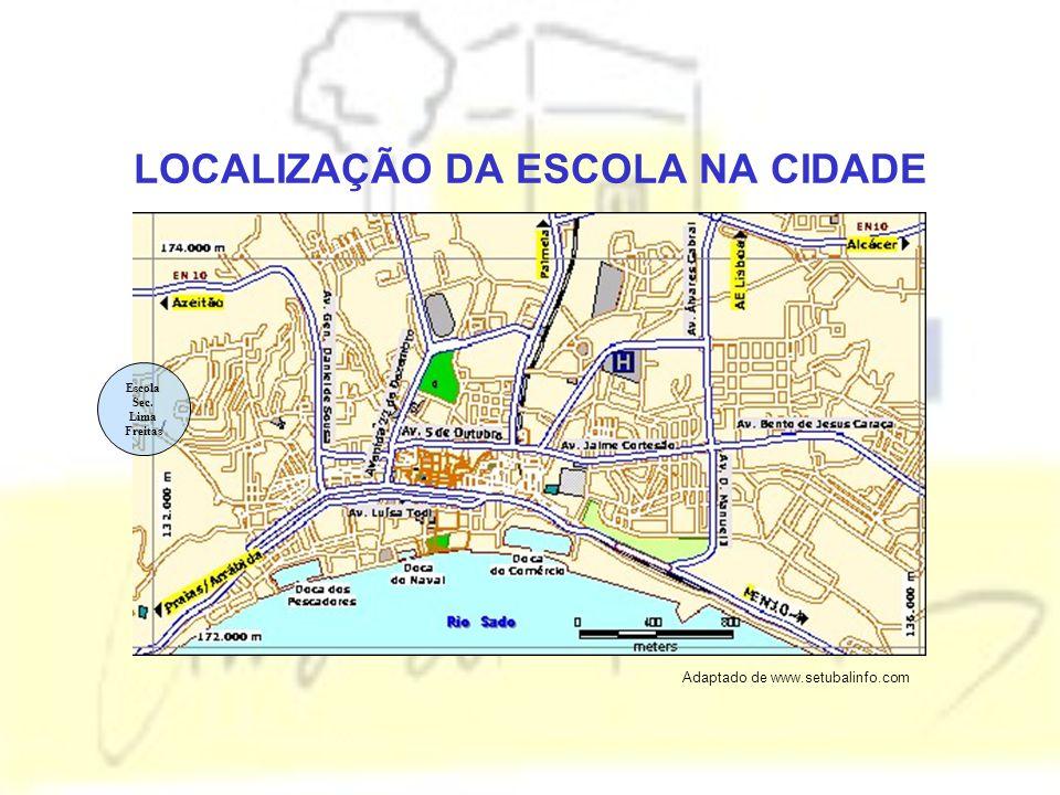LOCALIZAÇÃO DA ESCOLA NA CIDADE Escola Sec. Lima Freitas Adaptado de www.setubalinfo.com