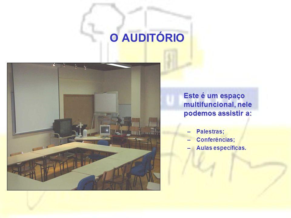 O AUDITÓRIO Este é um espaço multifuncional, nele podemos assistir a: –Palestras; –Conferências; –Aulas específicas.