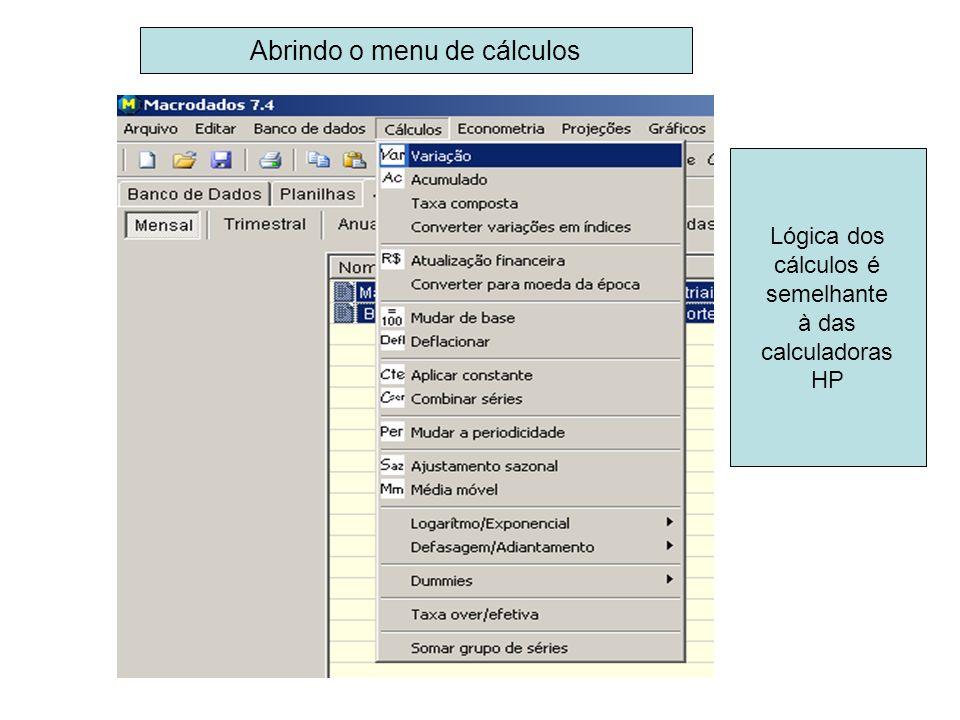 Lógica dos cálculos é semelhante à das calculadoras HP Abrindo o menu de cálculos