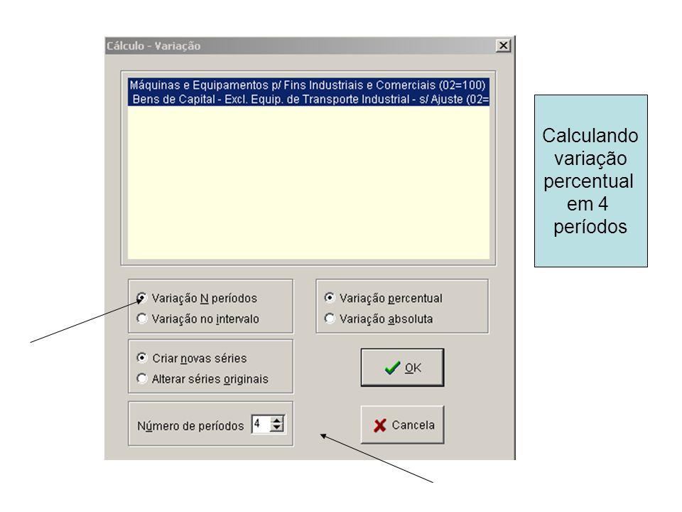 Calculando variação percentual em 4 períodos