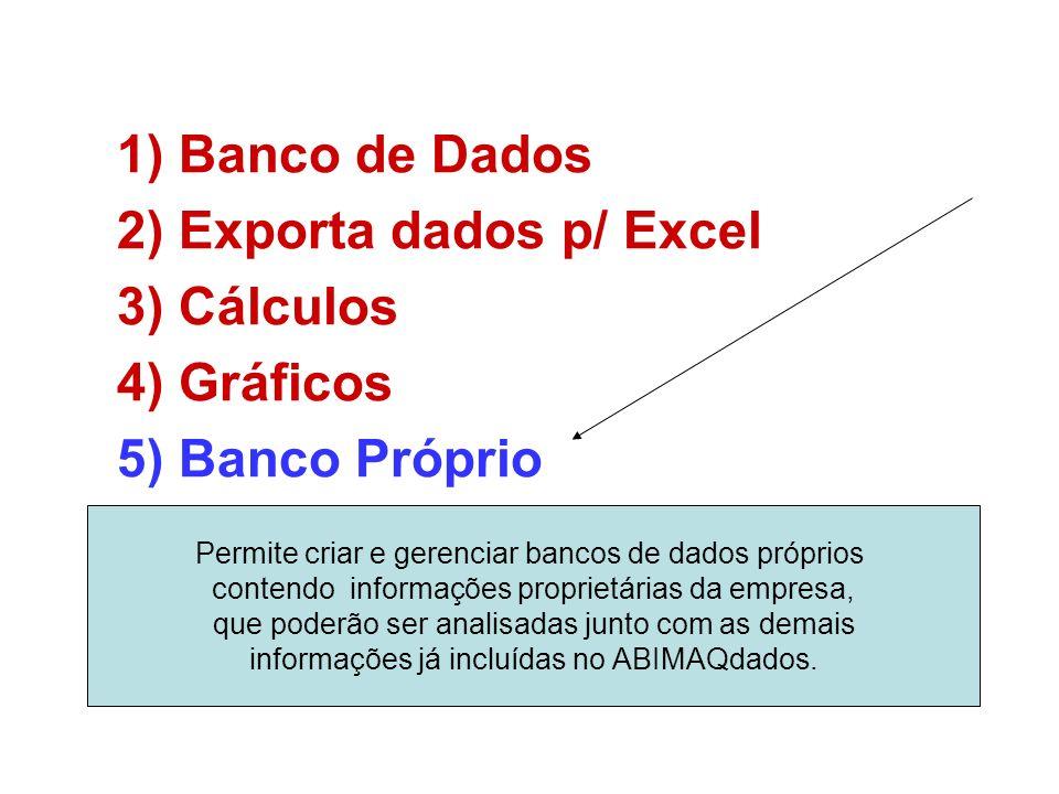 1)Banco de Dados 2)Exporta dados p/ Excel 3)Cálculos 4)Gráficos 5)Banco Próprio Permite criar e gerenciar bancos de dados próprios contendo informações proprietárias da empresa, que poderão ser analisadas junto com as demais informações já incluídas no ABIMAQdados.