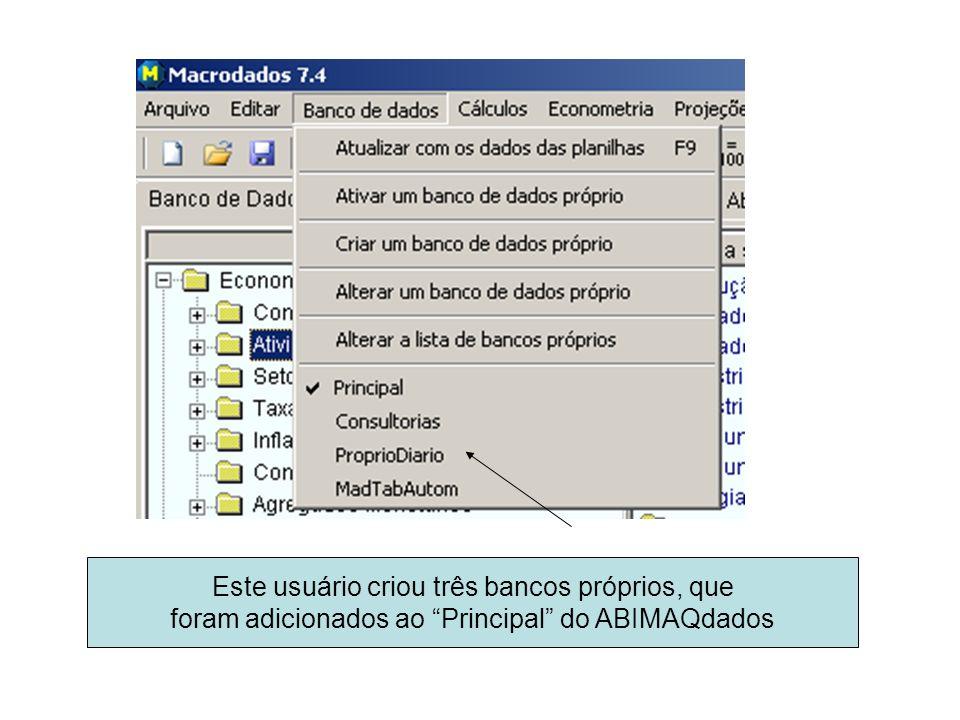 Este usuário criou três bancos próprios, que foram adicionados ao Principal do ABIMAQdados