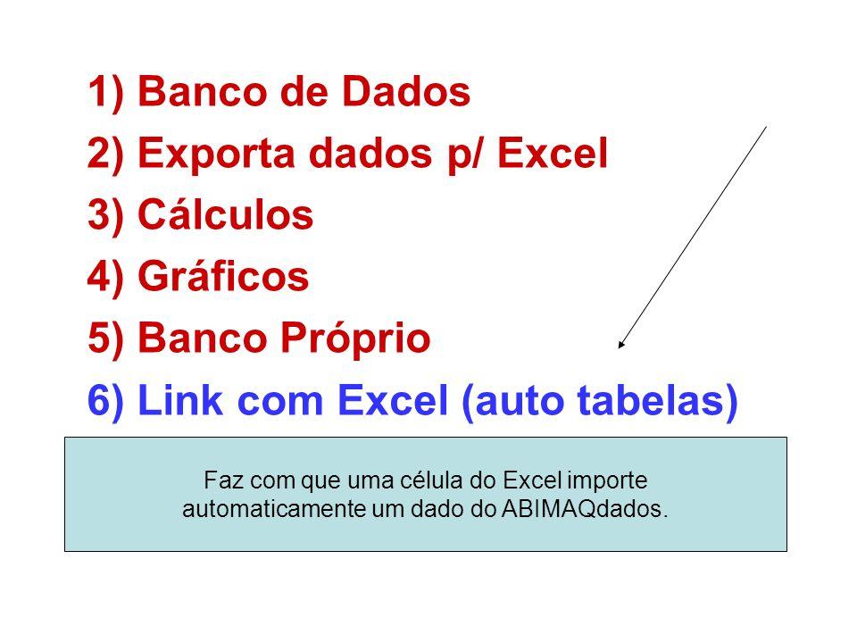 1)Banco de Dados 2)Exporta dados p/ Excel 3)Cálculos 4)Gráficos 5)Banco Próprio 6)Link com Excel (auto tabelas) Faz com que uma célula do Excel importe automaticamente um dado do ABIMAQdados.