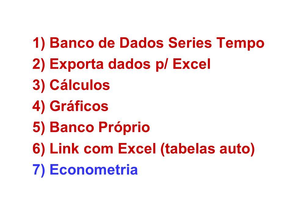 1)Banco de Dados Series Tempo 2)Exporta dados p/ Excel 3)Cálculos 4)Gráficos 5)Banco Próprio 6)Link com Excel (tabelas auto) 7)Econometria