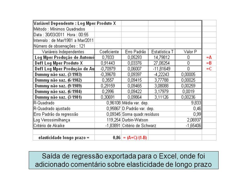 Saída de regressão exportada para o Excel, onde foi adicionado comentário sobre elasticidade de longo prazo