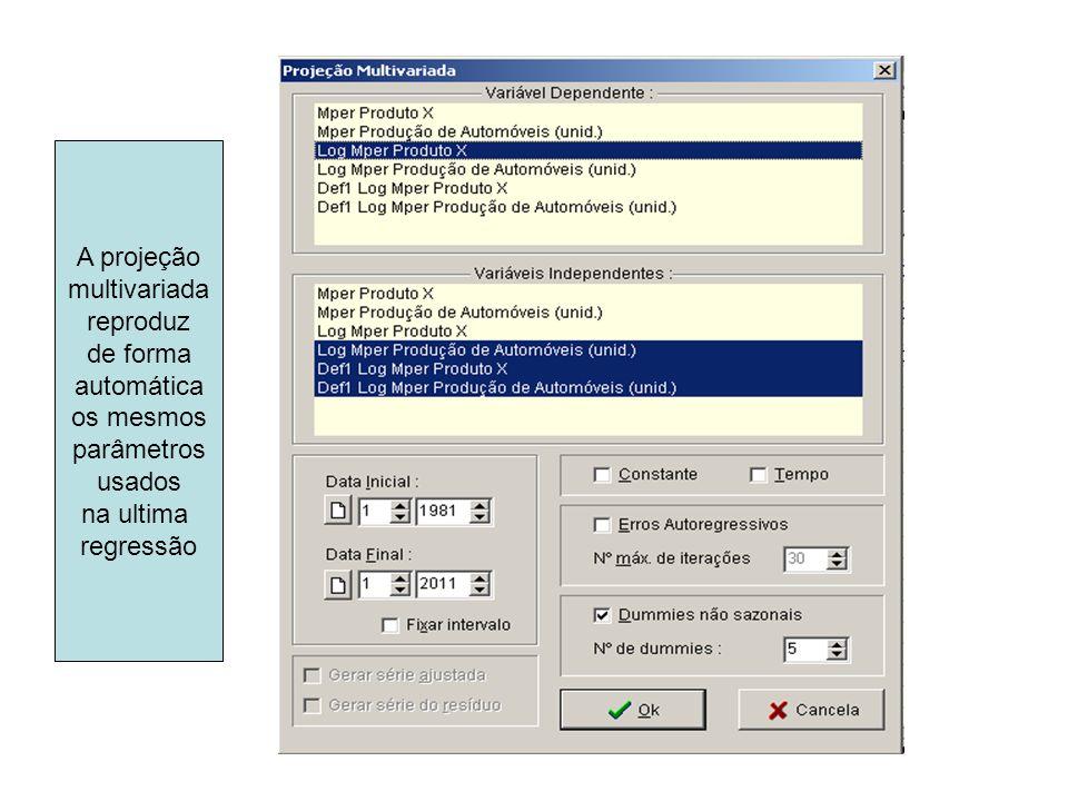 A projeção multivariada reproduz de forma automática os mesmos parâmetros usados na ultima regressão