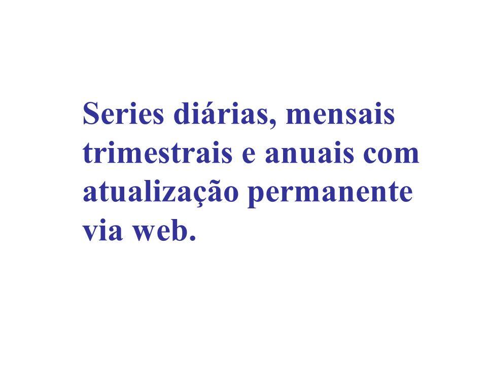 Series diárias, mensais trimestrais e anuais com atualização permanente via web.