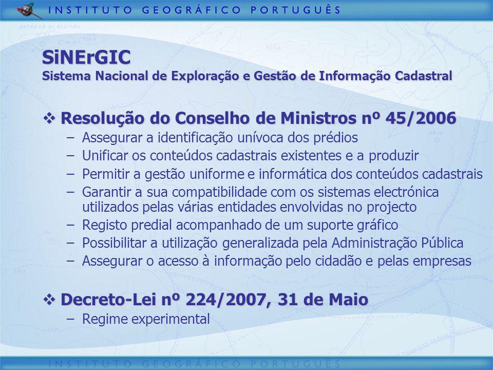 SiNErGIC Sistema Nacional de Exploração e Gestão de Informação Cadastral Resolução do Conselho de Ministros nº 45/2006 Resolução do Conselho de Minist