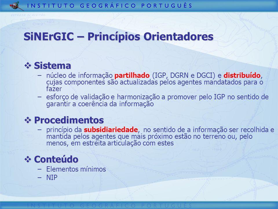 SiNErGIC – Princípios Orientadores Sistema Sistema –núcleo de informação partilhado (IGP, DGRN e DGCI) e distribuído, cujas componentes são actualizad