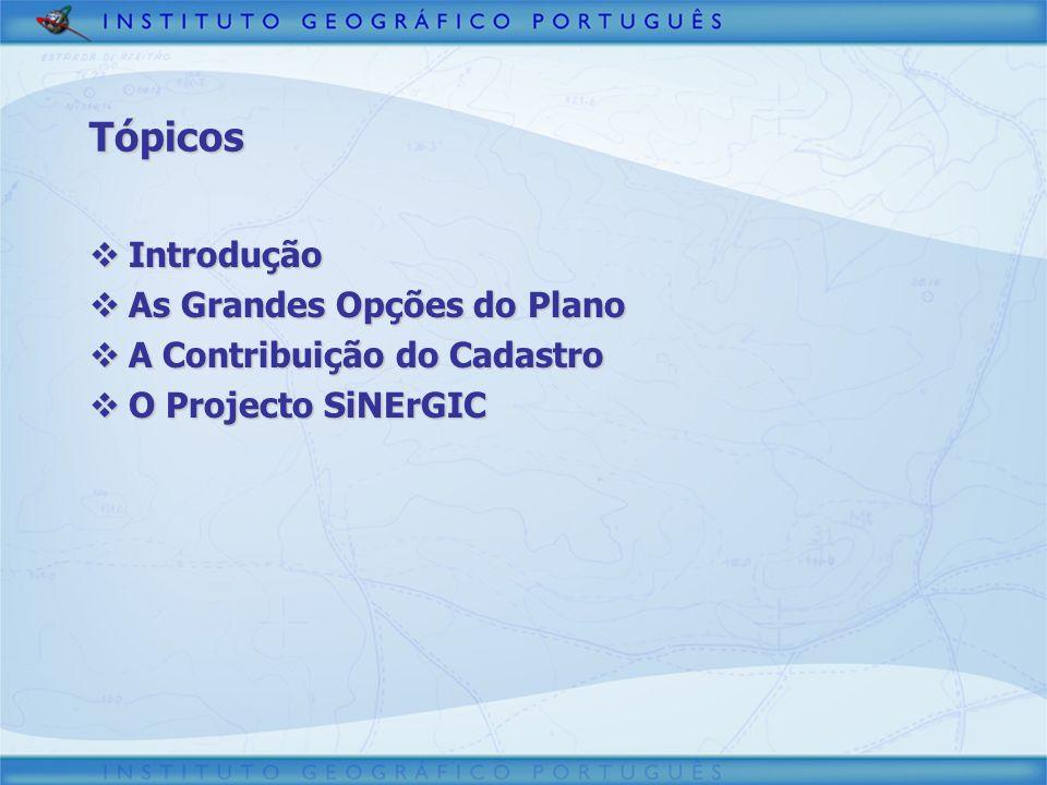 Tópicos Introdução Introdução As Grandes Opções do Plano As Grandes Opções do Plano A Contribuição do Cadastro A Contribuição do Cadastro O Projecto S
