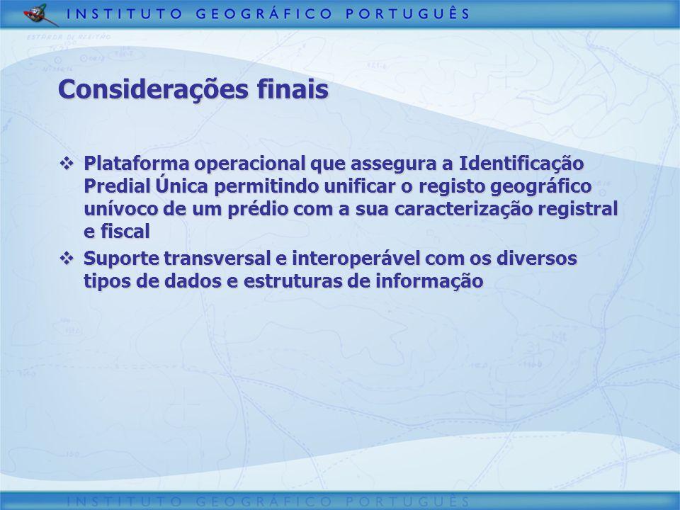 Considerações finais Plataforma operacional que assegura a Identificação Predial Única permitindo unificar o registo geográfico unívoco de um prédio c