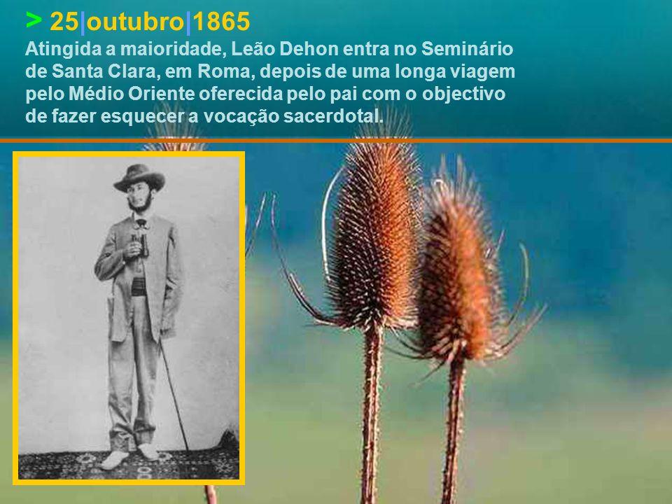 > 25|dezembro|1856 Na Missa de Natal Leão Dehon sente o chamamento de Deus para o sacerdócio.