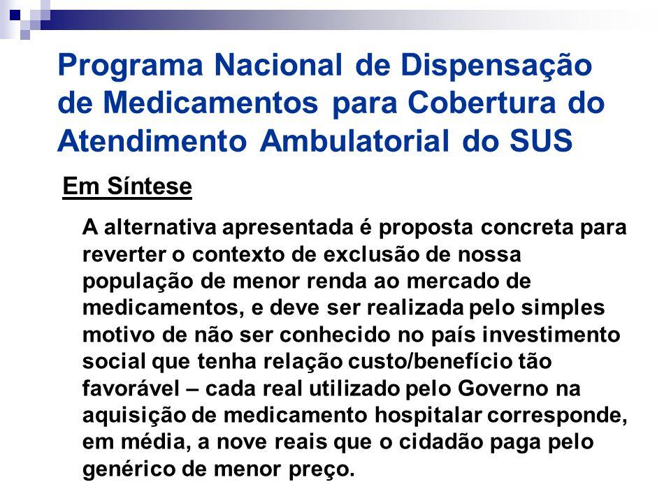 Programa Nacional de Dispensação de Medicamentos para Cobertura do Atendimento Ambulatorial do SUS Em Síntese A alternativa apresentada é proposta con