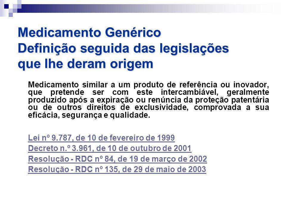 Medicamento similar a um produto de referência ou inovador, que pretende ser com este intercambiável, geralmente produzido após a expiração ou renúnci