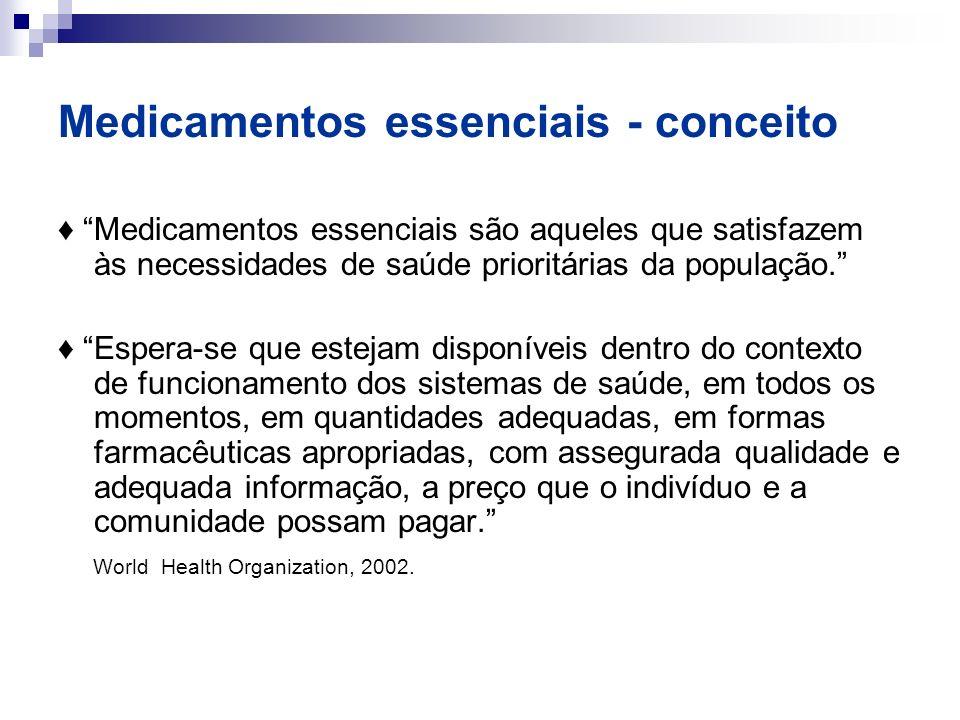 Medicamentos essenciais - conceito Medicamentos essenciais são aqueles que satisfazem às necessidades de saúde prioritárias da população. Espera-se qu