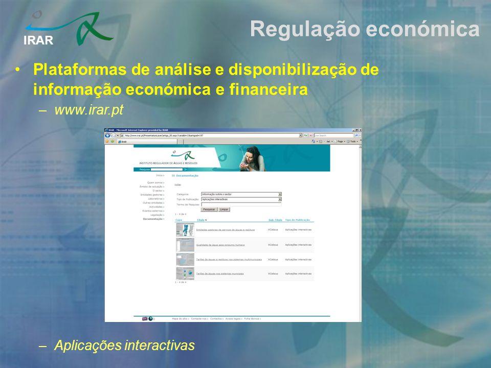IRAR Regulação económica Plataformas de análise e disponibilização de informação económica e financeira –www.irar.pt –Aplicações interactivas