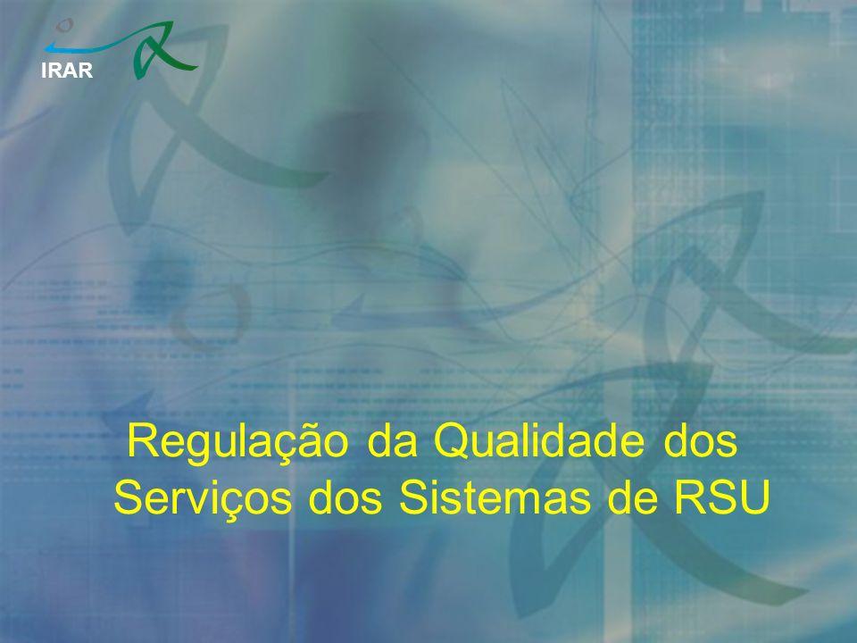 IRAR Regulação da Qualidade dos Serviços dos Sistemas de RSU