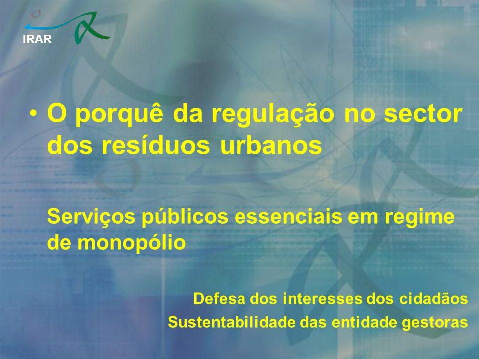 IRAR O porquê da regulação no sector dos resíduos urbanos Serviços públicos essenciais em regime de monopólio Defesa dos interesses dos cidadãos Sustentabilidade das entidade gestoras
