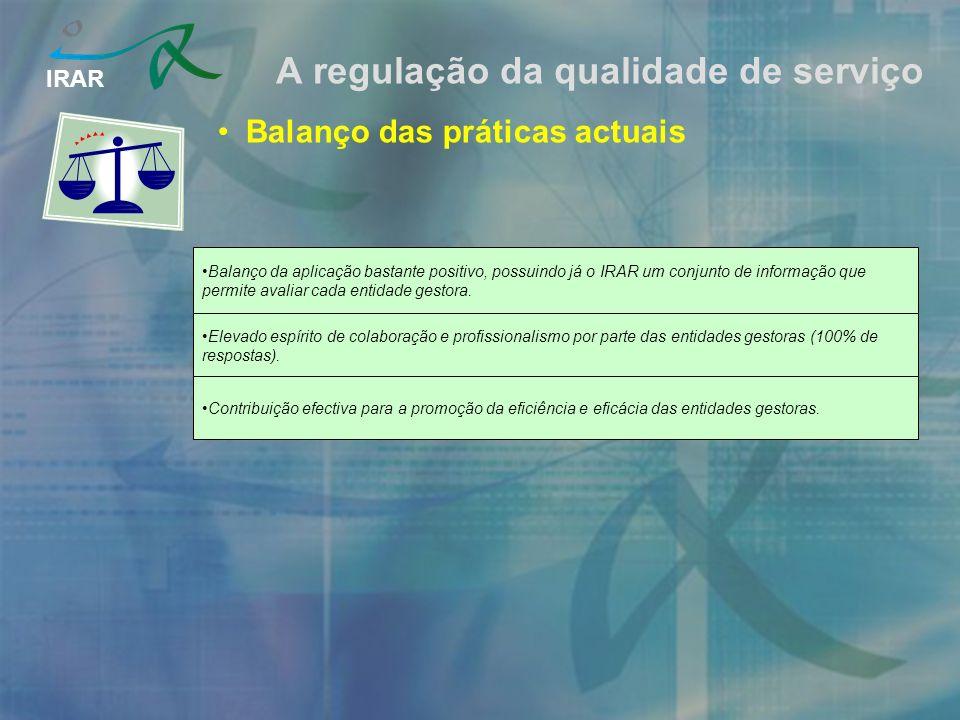 IRAR A regulação da qualidade de serviço Balanço das práticas actuais Balanço da aplicação bastante positivo, possuindo já o IRAR um conjunto de informação que permite avaliar cada entidade gestora.