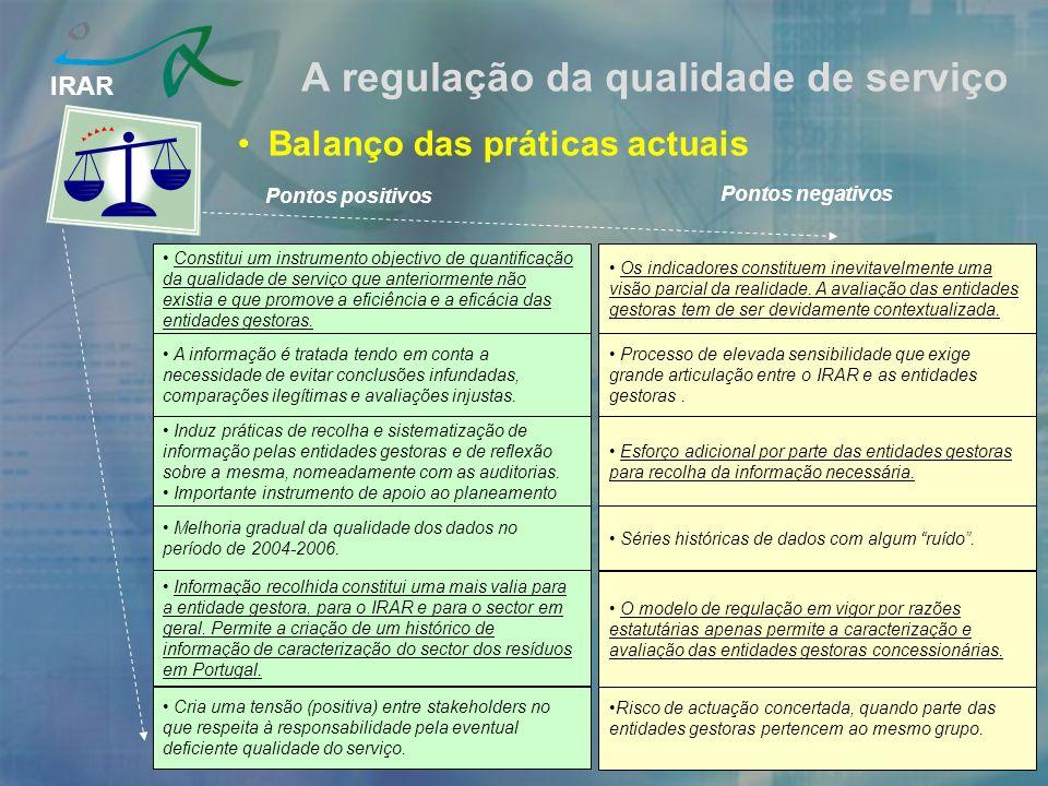 IRAR A regulação da qualidade de serviço Balanço das práticas actuais Pontos positivos Pontos negativos Induz práticas de recolha e sistematização de informação pelas entidades gestoras e de reflexão sobre a mesma, nomeadamente com as auditorias.