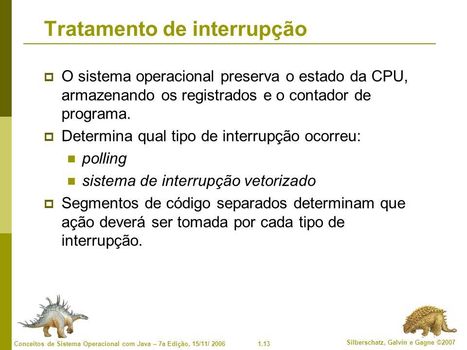 1.13 Silberschatz, Galvin e Gagne ©2007 Conceitos de Sistema Operacional com Java – 7a Edição, 15/11/ 2006 Tratamento de interrupção O sistema operacional preserva o estado da CPU, armazenando os registrados e o contador de programa.