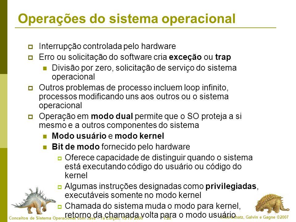 1.28 Silberschatz, Galvin e Gagne ©2007 Conceitos de Sistema Operacional com Java – 7a Edição, 15/11/ 2006 Operações do sistema operacional Interrupção controlada pelo hardware Erro ou solicitação do software cria exceção ou trap Divisão por zero, solicitação de serviço do sistema operacional Outros problemas de processo incluem loop infinito, processos modificando uns aos outros ou o sistema operacional Operação em modo dual permite que o SO proteja a si mesmo e a outros componentes do sistema Modo usuário e modo kernel Bit de modo fornecido pelo hardware Oferece capacidade de distinguir quando o sistema está executando código do usuário ou código do kernel Algumas instruções designadas como privilegiadas, executáveis somente no modo kernel Chamada do sistema muda o modo para kernel, retorno da chamada volta para o modo usuário