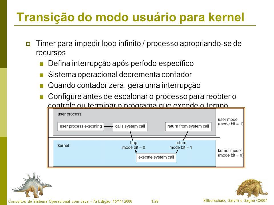 1.29 Silberschatz, Galvin e Gagne ©2007 Conceitos de Sistema Operacional com Java – 7a Edição, 15/11/ 2006 Transição do modo usuário para kernel Timer para impedir loop infinito / processo apropriando-se de recursos Defina interrupção após período específico Sistema operacional decrementa contador Quando contador zera, gera uma interrupção Configure antes de escalonar o processo para reobter o controle ou terminar o programa que excede o tempo alocado