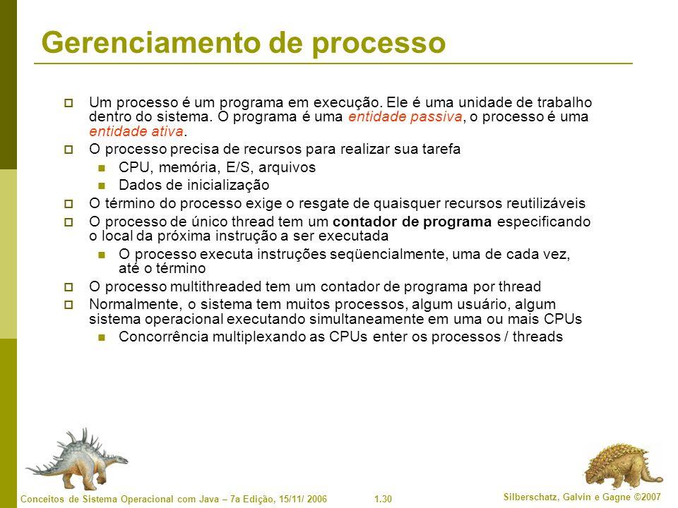 1.30 Silberschatz, Galvin e Gagne ©2007 Conceitos de Sistema Operacional com Java – 7a Edição, 15/11/ 2006 Gerenciamento de processo Um processo é um programa em execução.