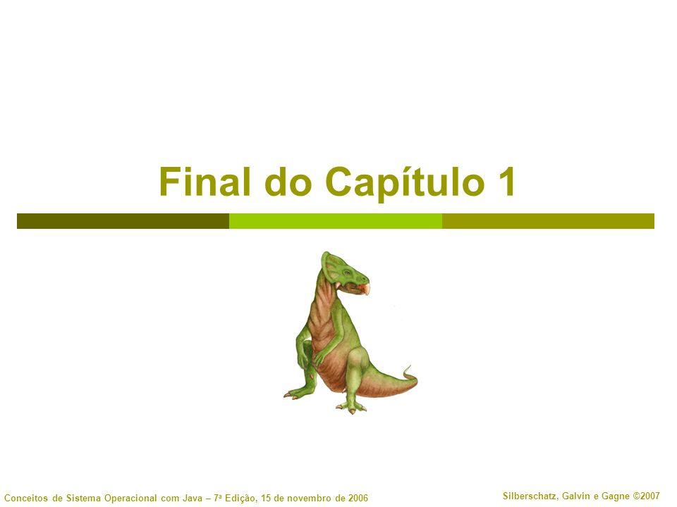 Conceitos de Sistema Operacional com Java – 7 a Edição, 15 de novembro de 2006 Silberschatz, Galvin e Gagne ©2007 Final do Capítulo 1