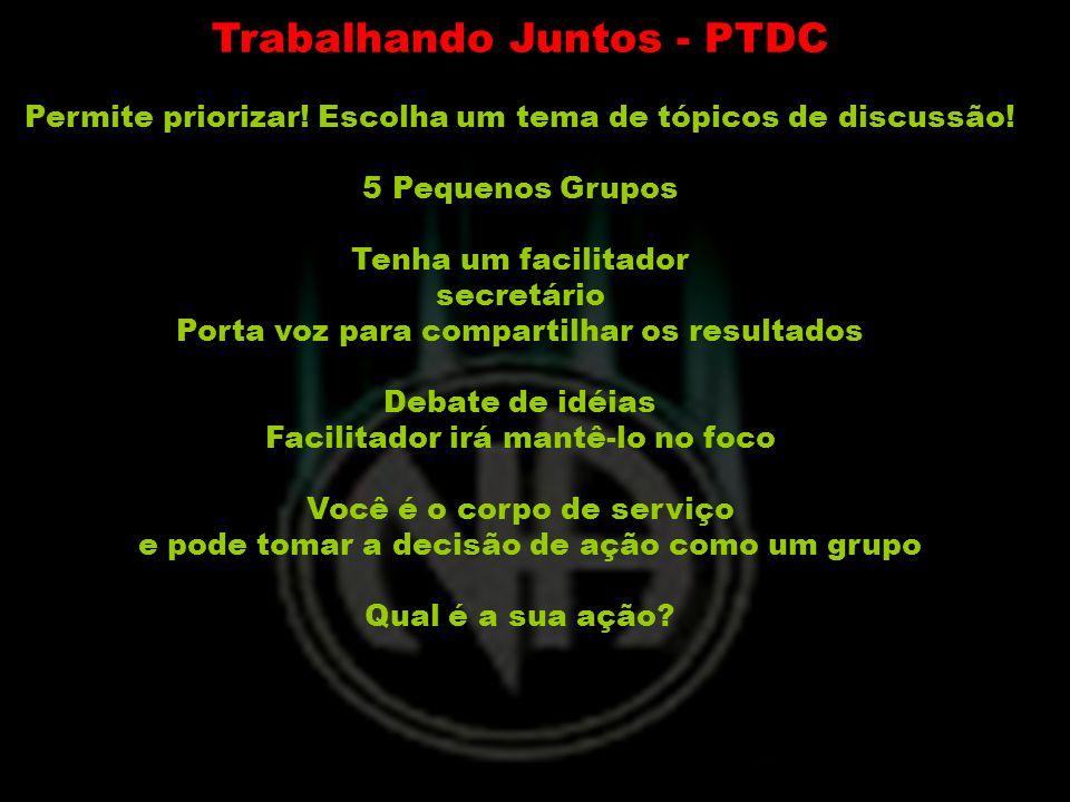 Trabalhando Juntos - PTDC Permite priorizar! Escolha um tema de tópicos de discussão! 5 Pequenos Grupos Tenha um facilitador secretário Porta voz para