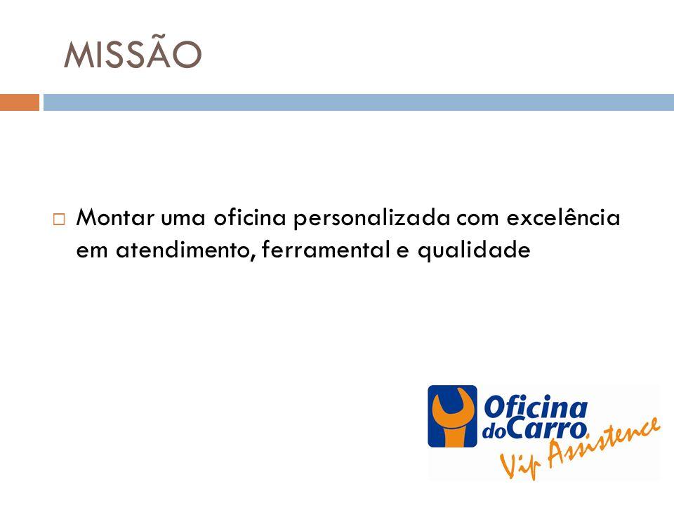 MISSÃO Montar uma oficina personalizada com excelência em atendimento, ferramental e qualidade