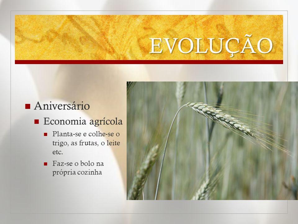 EVOLUÇÃO Aniversário Economia agrícola Planta-se e colhe-se o trigo, as frutas, o leite etc. Faz-se o bolo na própria cozinha