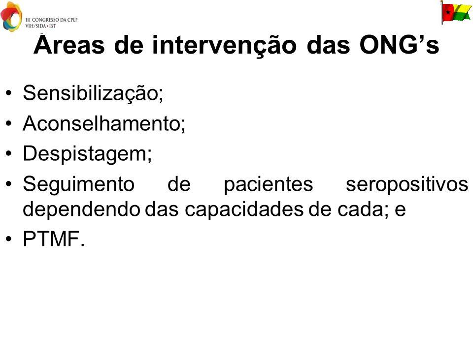 Áreas de intervenção das ONGs Sensibilização; Aconselhamento; Despistagem; Seguimento de pacientes seropositivos dependendo das capacidades de cada; e PTMF.