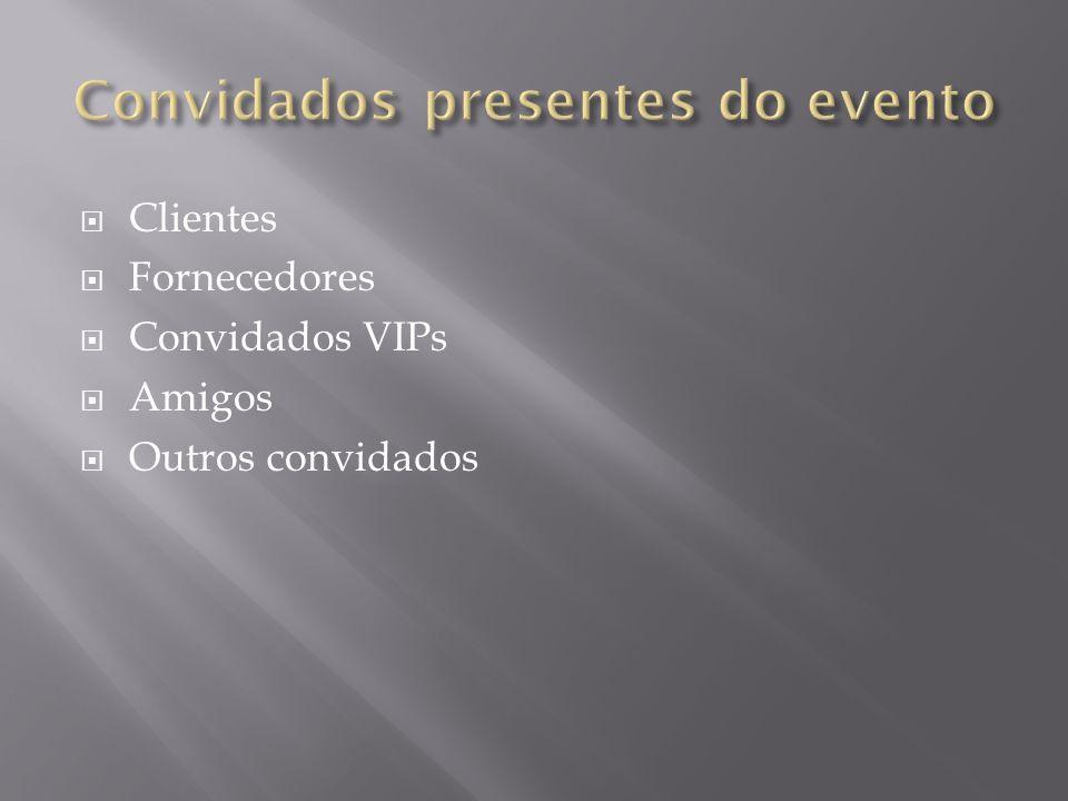 Clientes Fornecedores Convidados VIPs Amigos Outros convidados