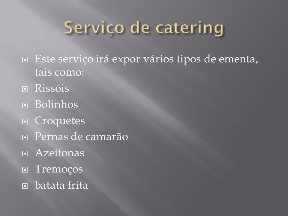 Este serviço irá expor vários tipos de ementa, tais como: Rissóis Bolinhos Croquetes Pernas de camarão Azeitonas Tremoços batata frita