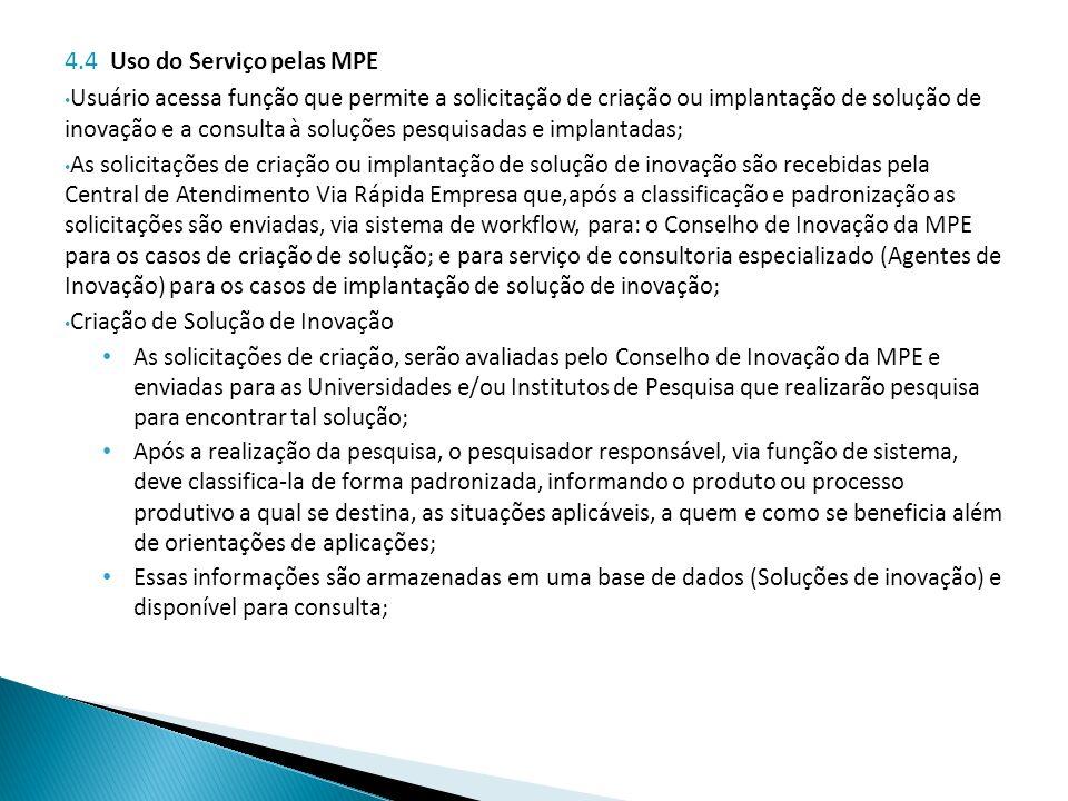 4.4 Uso do Serviço pelas MPE Usuário acessa função que permite a solicitação de criação ou implantação de solução de inovação e a consulta à soluções pesquisadas e implantadas; As solicitações de criação ou implantação de solução de inovação são recebidas pela Central de Atendimento Via Rápida Empresa que,após a classificação e padronização as solicitações são enviadas, via sistema de workflow, para: o Conselho de Inovação da MPE para os casos de criação de solução; e para serviço de consultoria especializado (Agentes de Inovação) para os casos de implantação de solução de inovação; Criação de Solução de Inovação As solicitações de criação, serão avaliadas pelo Conselho de Inovação da MPE e enviadas para as Universidades e/ou Institutos de Pesquisa que realizarão pesquisa para encontrar tal solução; Após a realização da pesquisa, o pesquisador responsável, via função de sistema, deve classifica-la de forma padronizada, informando o produto ou processo produtivo a qual se destina, as situações aplicáveis, a quem e como se beneficia além de orientações de aplicações; Essas informações são armazenadas em uma base de dados (Soluções de inovação) e disponível para consulta;